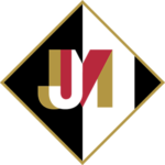 Justin John Moniz Logo Icon - Black and white triangle with JM initials