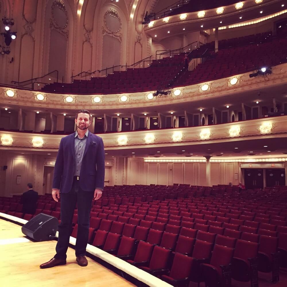 Justin on stage at Chicago Symphony Theatre