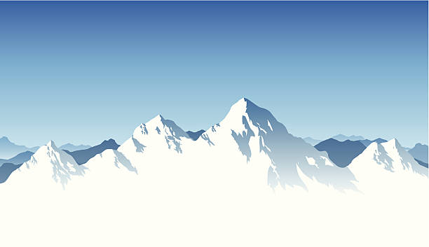 graphic render of white mountain peaks